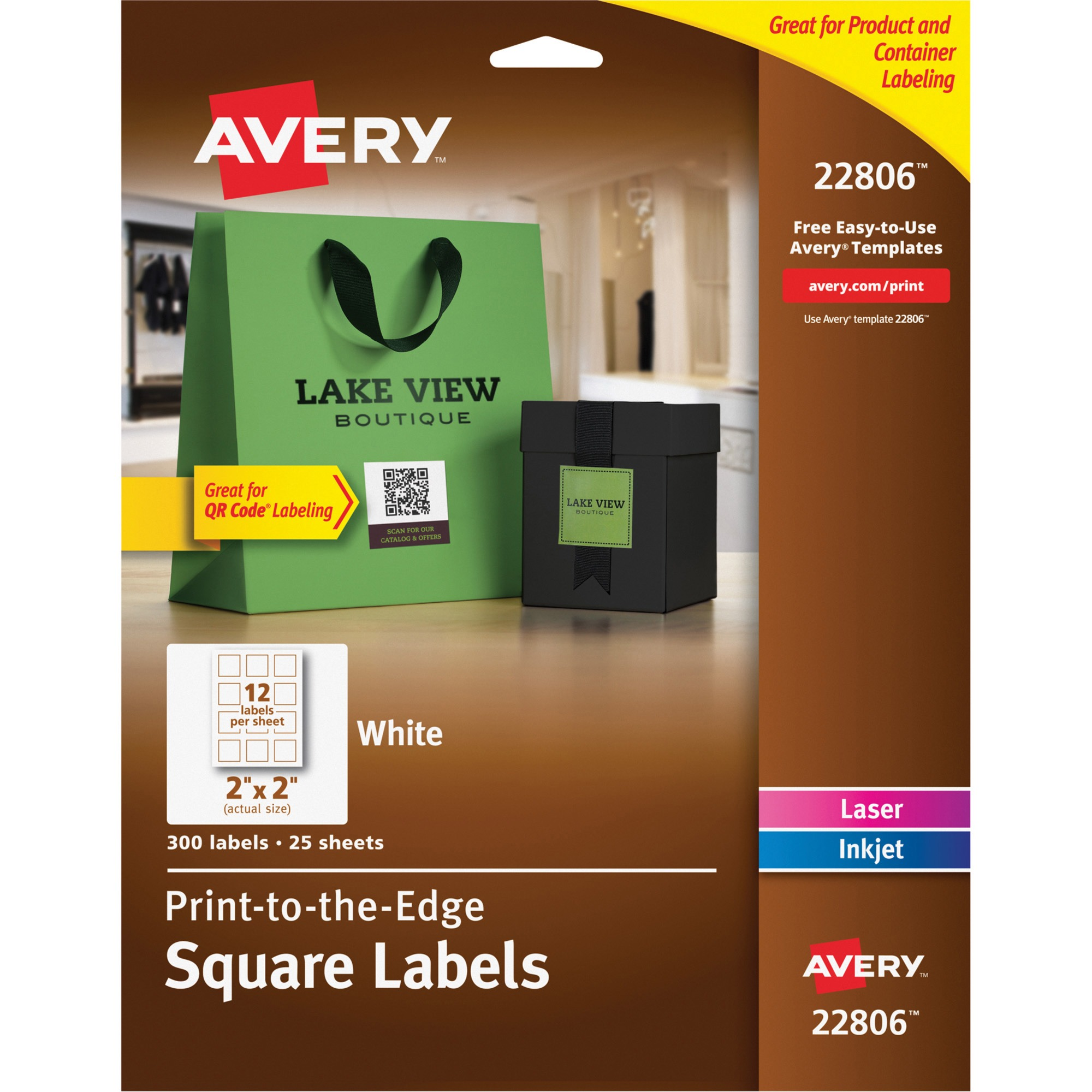 "Avery Print-to-the-Edge Square Labels with TrueBlock, 2"" x 2"", White, 300 Count"
