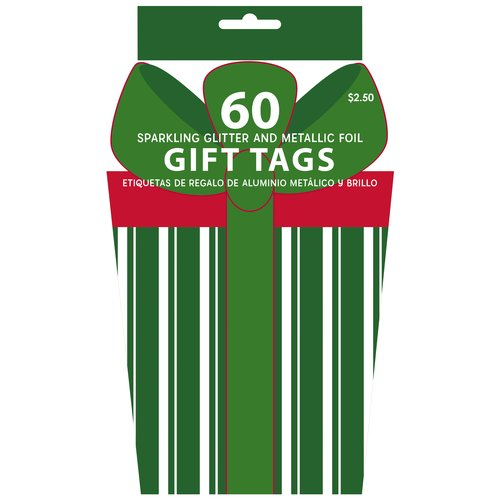 Holiday Time 60-Piece Gift Tag Book, Red/Green
