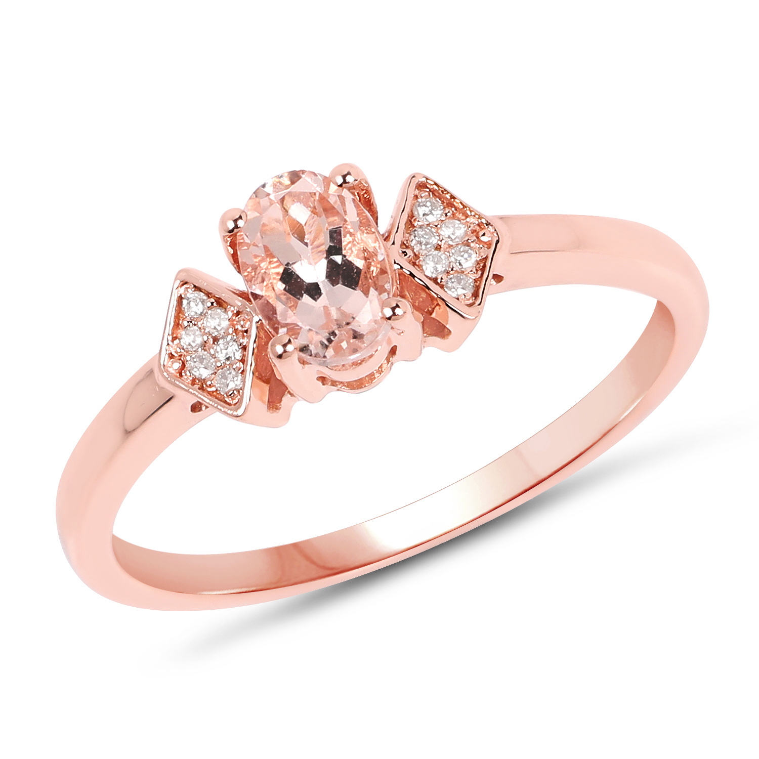 Genuine Oval Morganite and Diamond Ring in 14k Rose Gold - Size 6.00