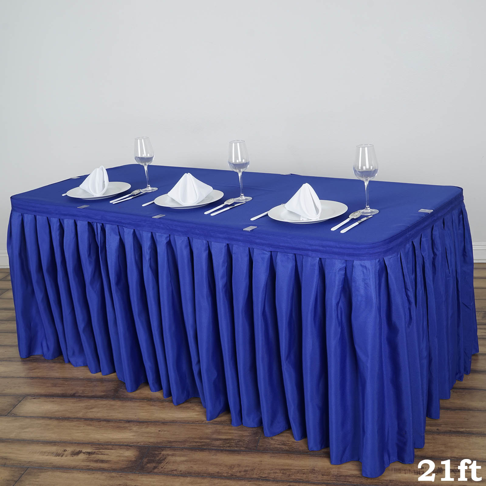 """BalsaCircle 21 feet x 29"""" Polyester Banquet Table Skirt - Wedding Party Trade Show Booth Events Linens Decorations"""