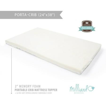 memory foam crib topper Milliard Mini Crib Memory Foam Mattress Topper   SIZED FOR THE  memory foam crib topper