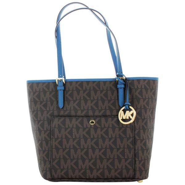 Michael Kors Jet Set Women's Large Monogram Handbag Tote ...