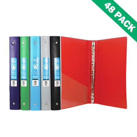 poly binder file school office 3 ring binders 1 inch with pocket