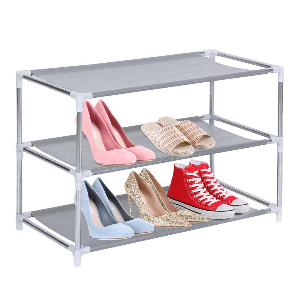 3 Layer Shoes Stand Removable Dust-Shelves Storage Organizer Fabric Shelf Holder Stackable Closet
