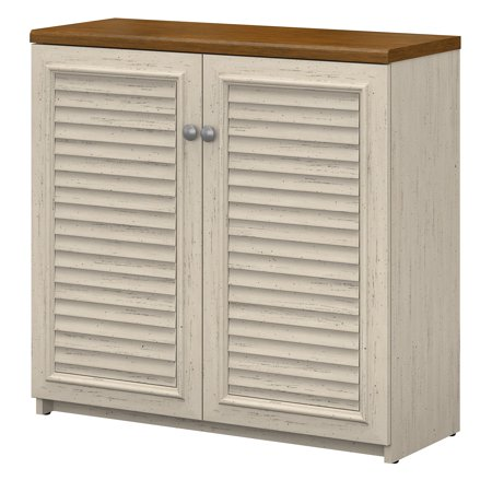Bush Furniture Fairview Small Storage Cabinet with Doors in Antique White and Tea Maple ()