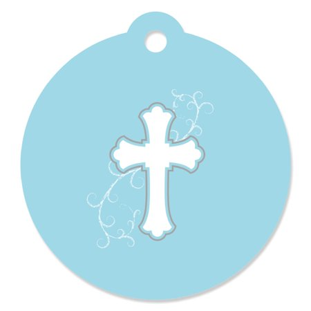 Little Miracle Boy Blue & Gray Cross - Baptism Party Favor Tags (Set of 20)
