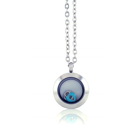 BG247 Floating Adjustable Locket Necklace with 6 Charms and Matching Chain (Mini Silver No Stone)