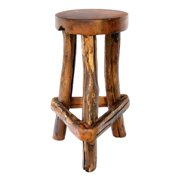 Sawtooth Rustic Style Backless Barstool In Teak