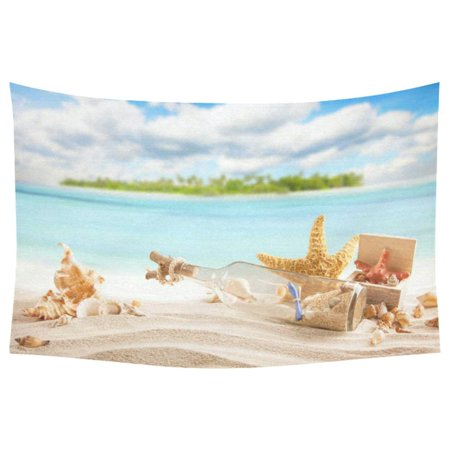 PHFZK Summer Concept of Sandy Beach Wall Art Home Decor, Starfish and Seashell Ocean Theme Tapestry Wall Hanging 40 X 60 Inches - Beach Themed Classroom