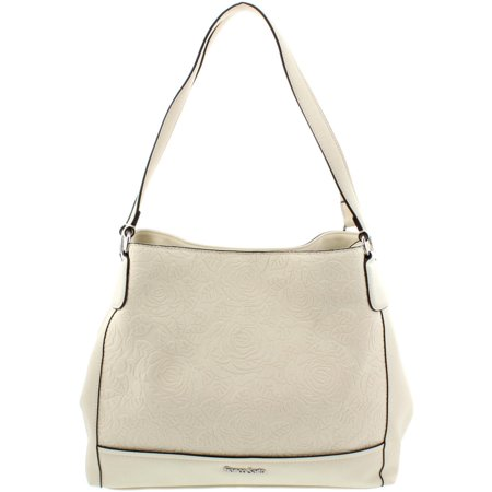 Franco Sarto Womens Alyse Embossed Faux Leather Shopper Handbag Ivory