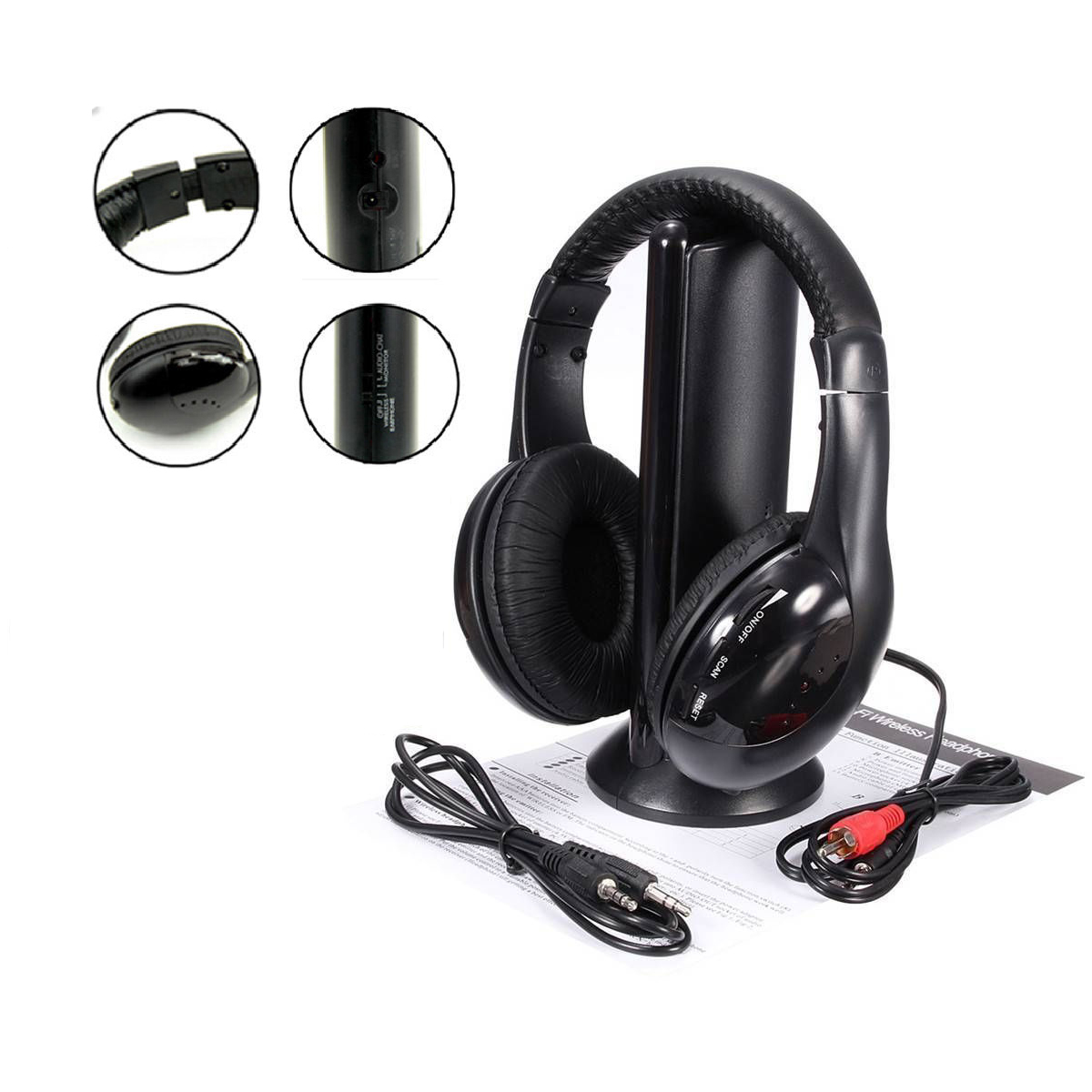 Hot 5 in 1 Hi-Fi Wireless Headset Headphone Earphone for TV DVD MP3 PC