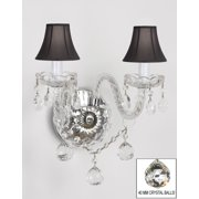 Murano Venetian Style All Crystal Wall Sconce With Crystal Balls And Black Shades