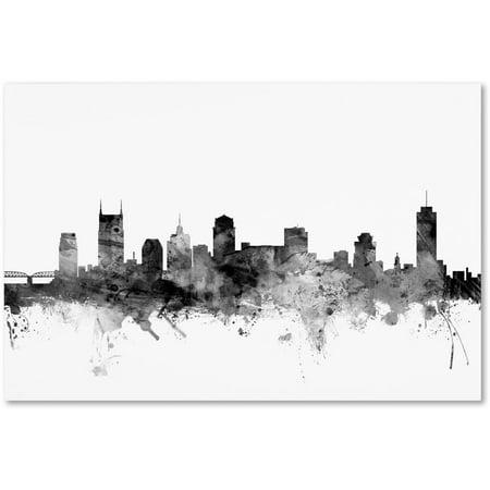 "Trademark Fine Art ""Nashville TN Skyline B&W"" Canvas Art by Michael Tompsett"