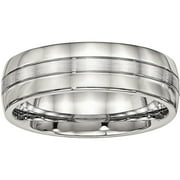 Stainless Steel Brushed and Polished Grooved 6.50mm Band