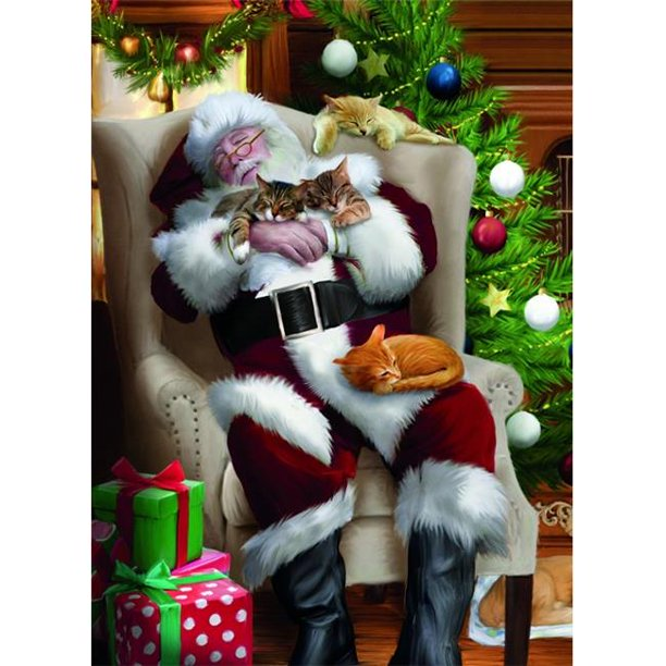 Tree-Free Greetings TFG17463 Cat Nap Santa Christmas Card