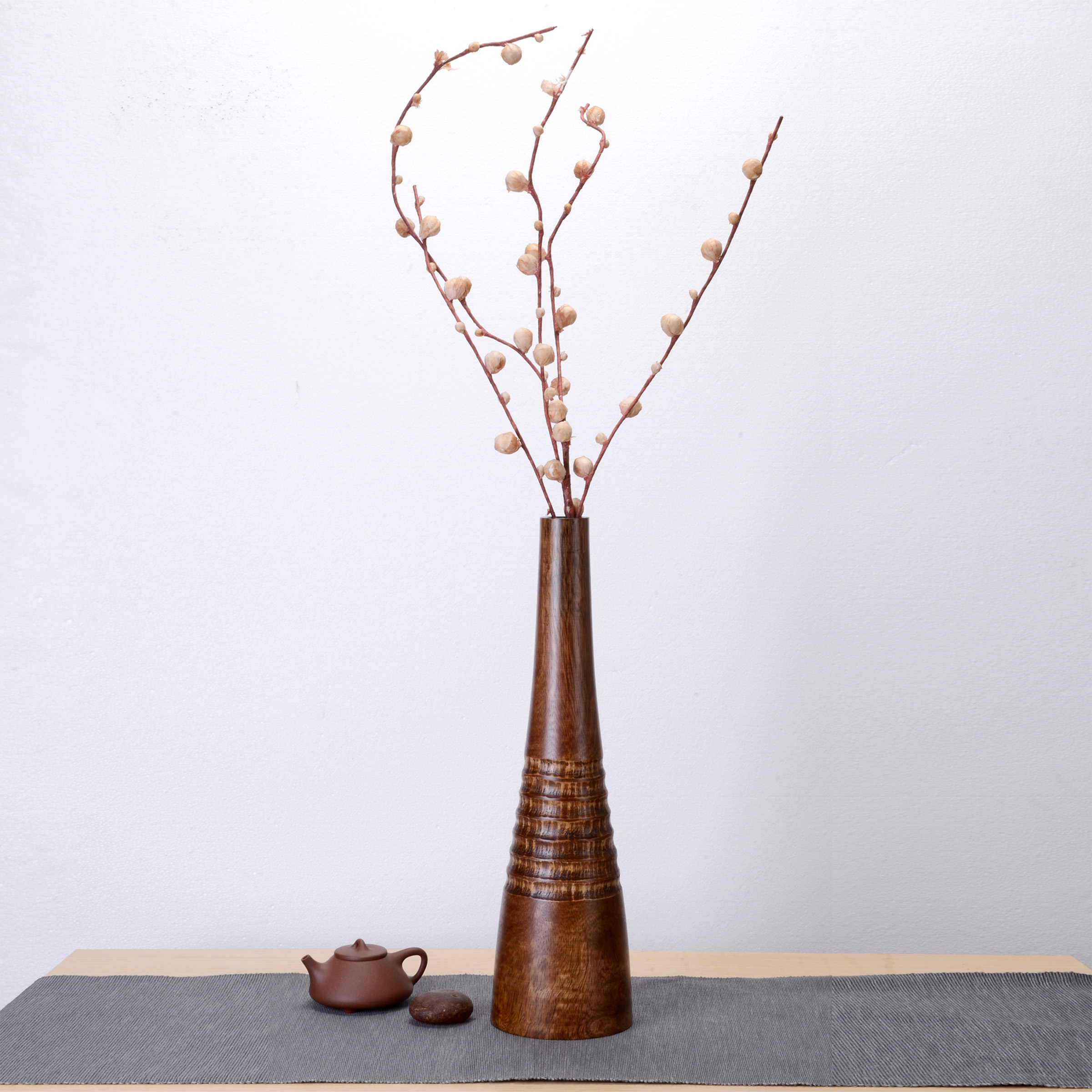 Handmade brown slim bottle vase