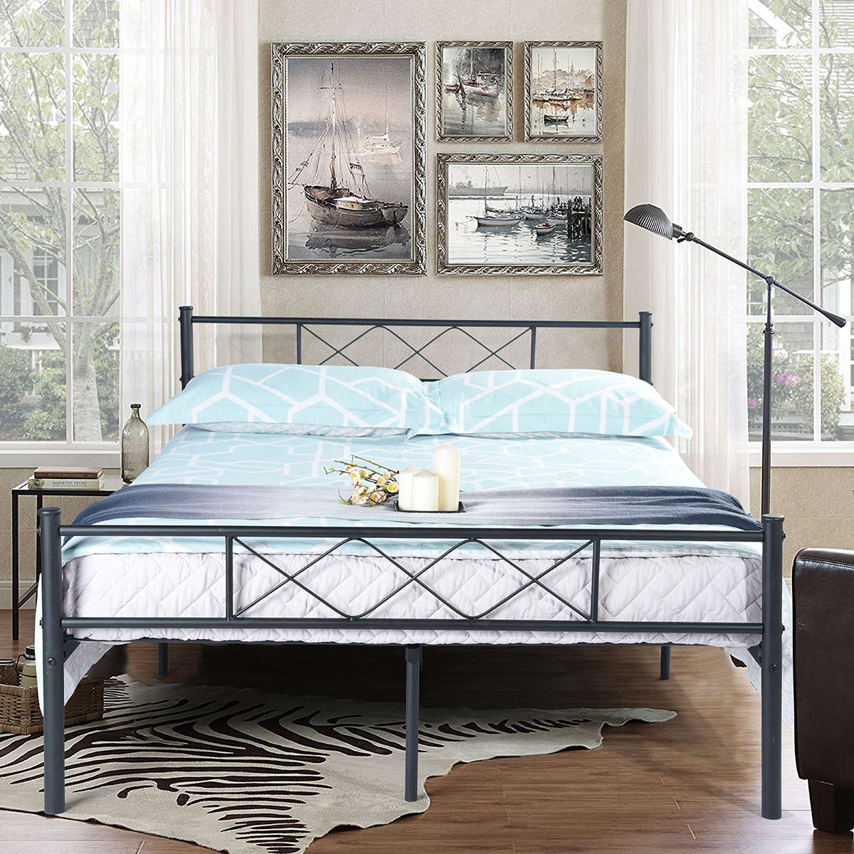 Easy Set Up Premium Metal Bed Frame Platform Box Spring