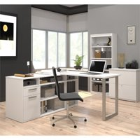 Kingfisher Lane L-Desk with Lateral File and Bookcase in White