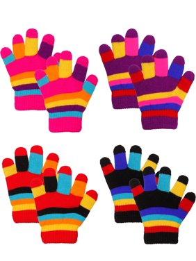 Emmalise Children Kids Winter Cold Weather Winter Knit Gloves - 3 - 8 yrs Old