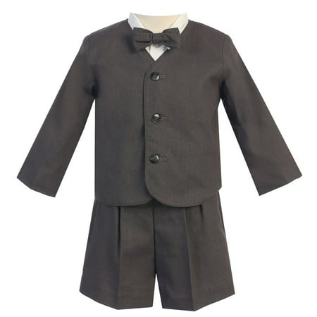 Little Boys Charcoal Eton Short Formal Ring Bearer Suit 3T - Suit For Toddler Ring Bearer