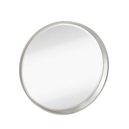 Majestic Mirror Modern Round Simple Silver Frame Beveled Glass Wall ...