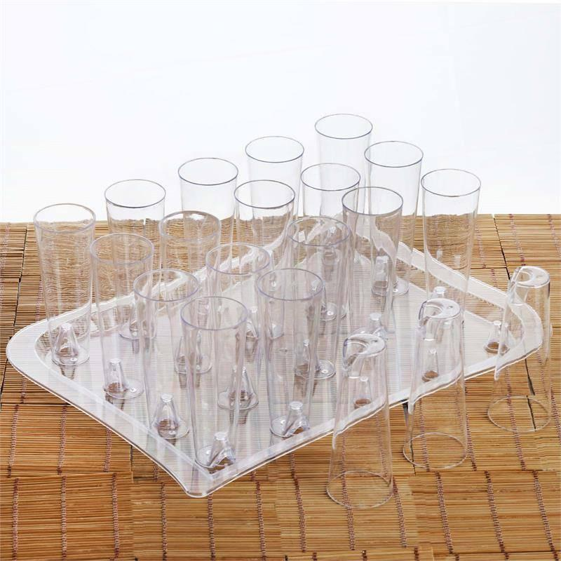 BalsaCircle Clear 20 pcs 4 oz Plastic Fluted Cups - Disposable Wedding Party Catering Tableware