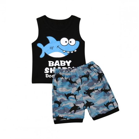 Toddler Kids Clothing Baby Boys Cute Sleeveless Shark Vest Tank Top+Short Pants Trousers 2Pcs Outfits Clothes