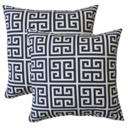 FHT Premiere Home Towers Blue Greek Key 17-inch Throw Pillow - Set of 2