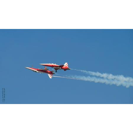 Canvas Print Flugshow Fighter Jet Patrol Suisse Stretched Canvas 10 x
