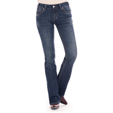 Rock & Roll Cowgirl Mid Rise Bootcut Gold Aztec Leather Denim Jean (26x34) - W1-2510