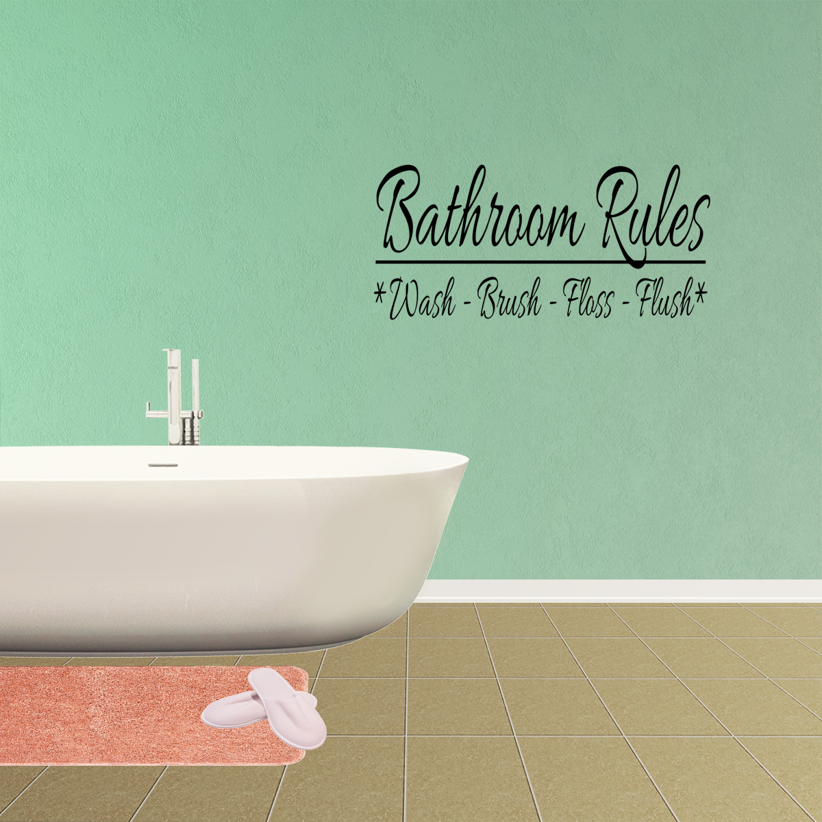 Bathroom Rules Monkey Vinyl Wall Decal Quotes Stickers Bath Decals Home Decor JR116