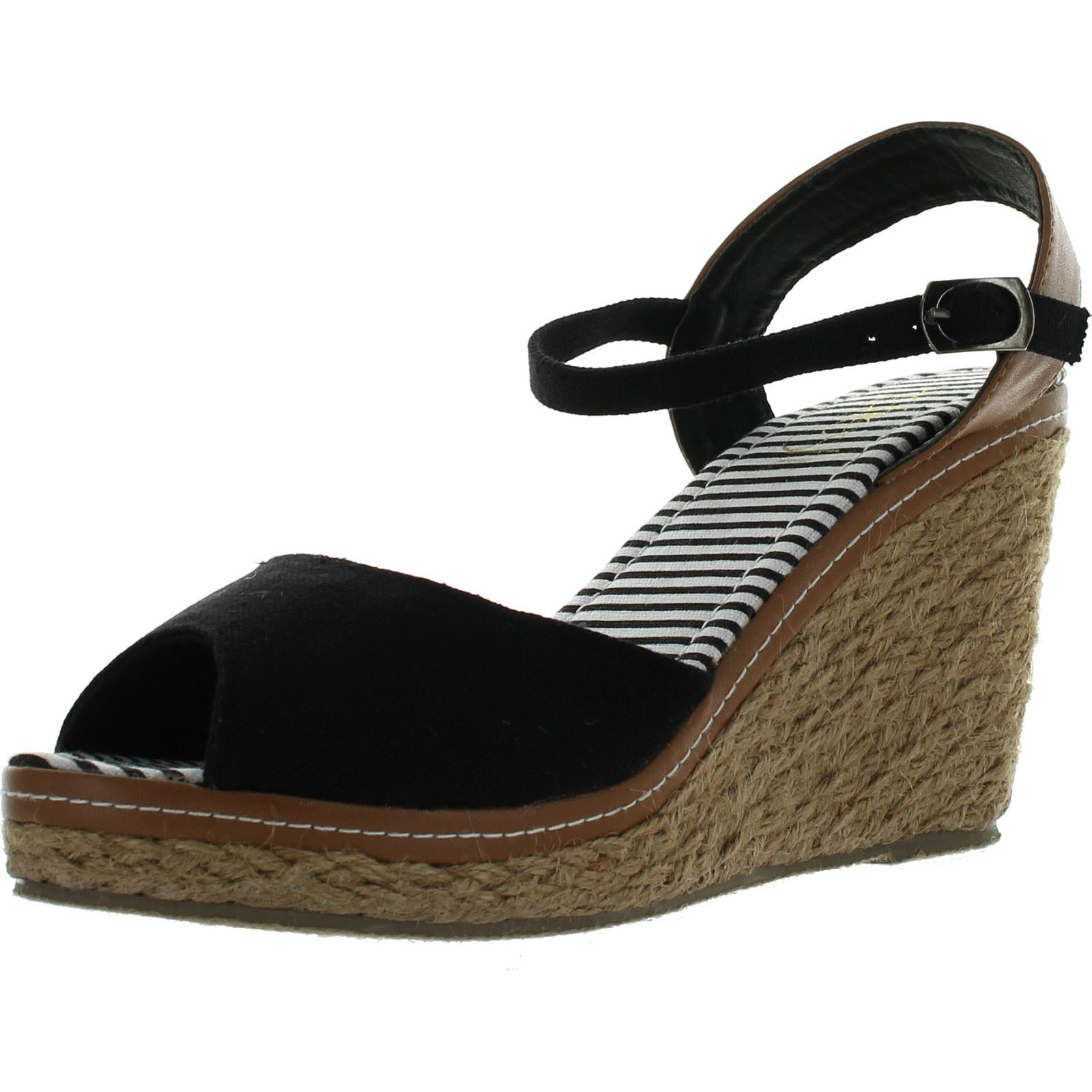 Refresh BYPASS-01 Womens Ankle Strap SlingBack Espadrille Wedge Sandal