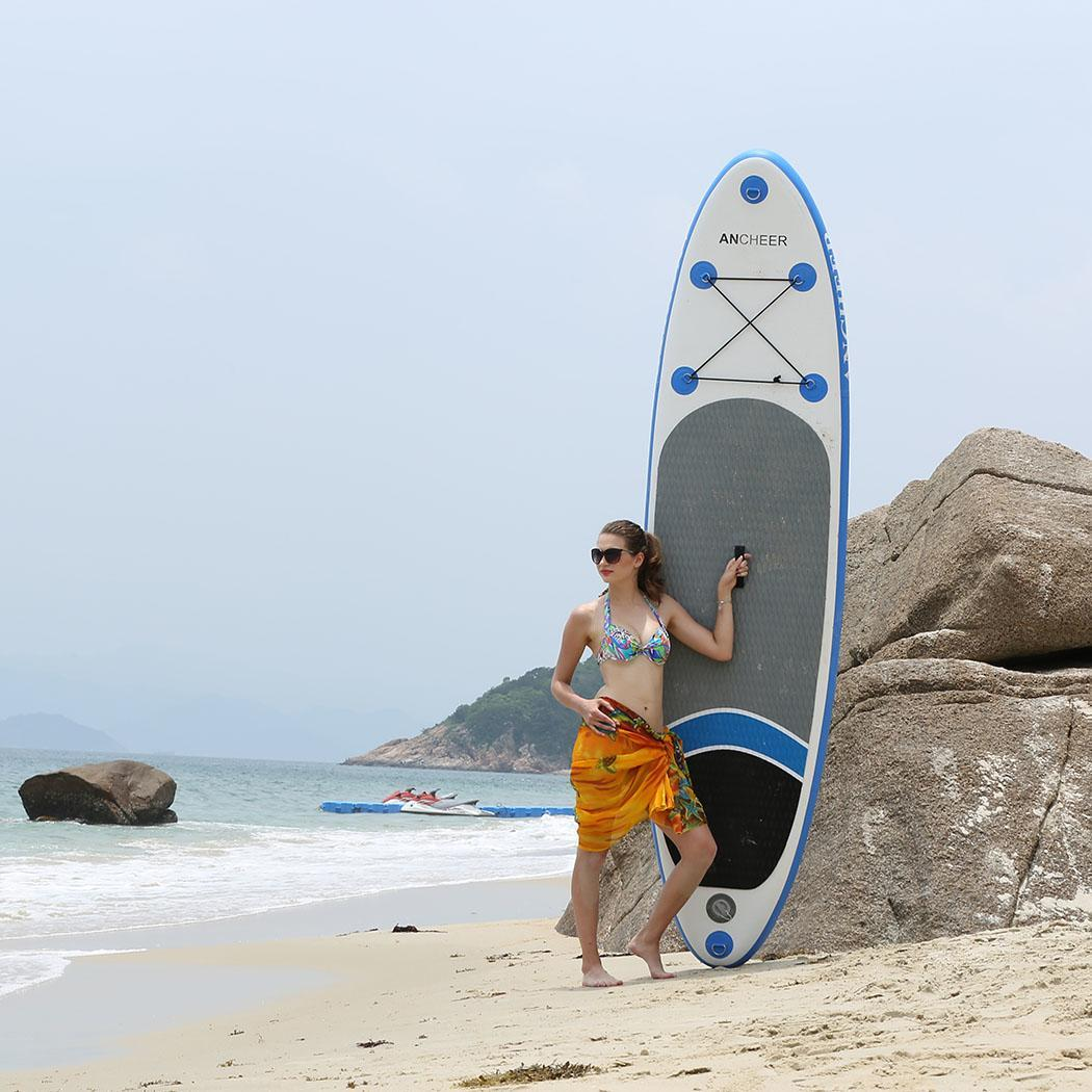 Hifashion The Newest 10ft Inflatable Stand Up Paddle Board iSUP with Adjustable Paddle Backpack Hand Pump HFON