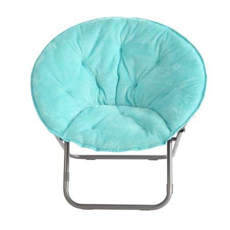 Mainstays Faux Fur Saucer Chair, Aqua