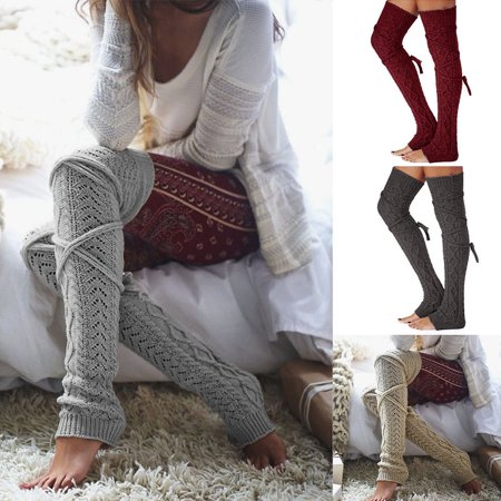 Women Crochet Knitted stocking Leg Warmers Boot Cover Lace Trim Legging Socks #215 (Cheap Furry Leg Warmers Boot Covers)