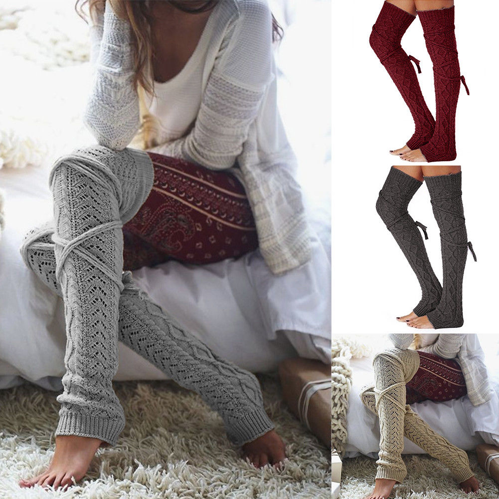 Women Crochet Knitted stocking Leg Warmers Boot Cover Lace Trim Legging Socks #215