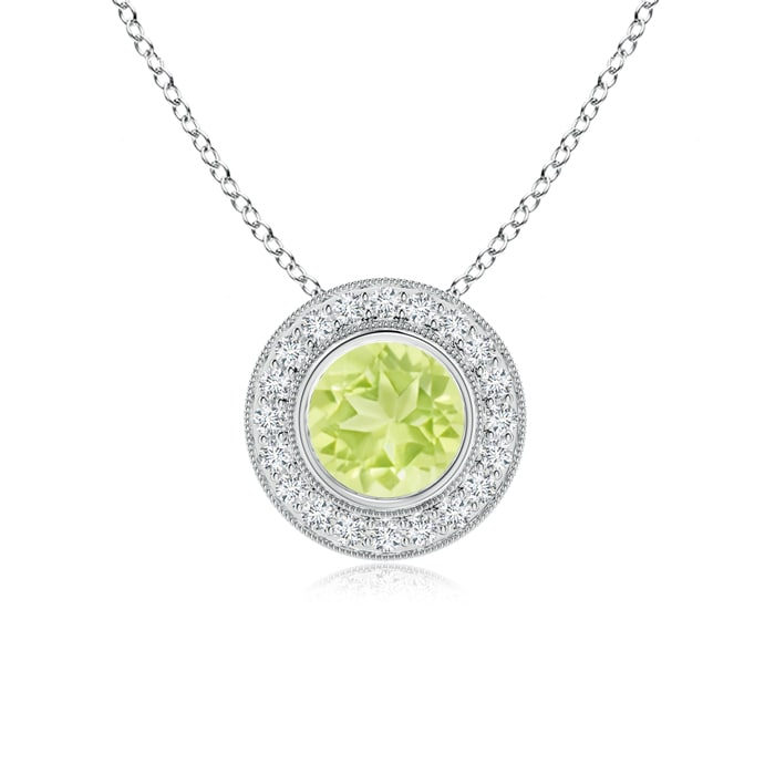 """Brilliant Round Halo  /""""A/"""" Letter Initial Charm Pendant Necklace 14K White Gold"""