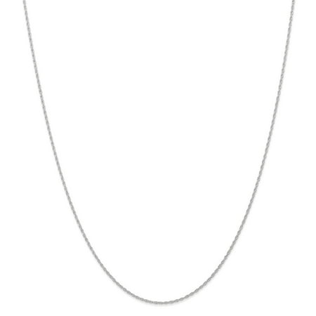 10k White Gold .95 mm Carded Cable Rope Chain