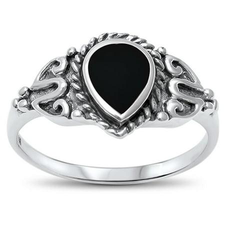 Sterling Silver Teardrop Synthetic Onyx Antique Ring Size 7 (Onyx Antique Ring)