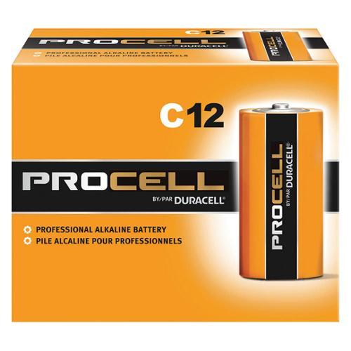 DURACELL Battery, Alkaline, C Size, PK12 PC1400