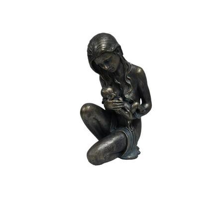 Child Sculpture - Sitting Women Holding Child Statue Sculpture in Patina Black Finish by Urban Port