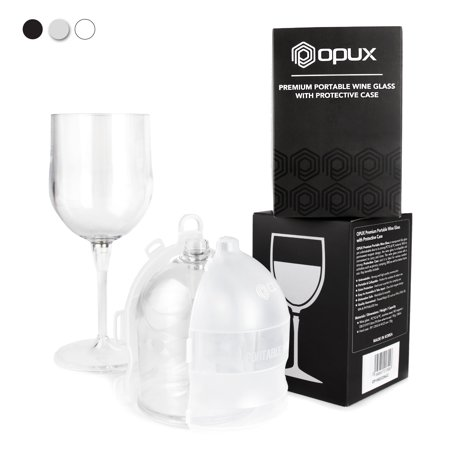 Premium Portable Wine Glass by OPUX | Unbreakable, Collapsible, BPA Free, Dishwasher Friendly | Ideal for Camping, Picnics, Outdoor and Indoor Use (Clear)