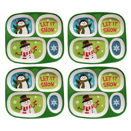 Set of 4 Black Duck Brand Kid's Divided Holiday Plates! Melamine Christmas Dinner Kid's Sectioned Plates! Santa and Penguin Designs  - Dishwasher Safe - BPA FREE (4)