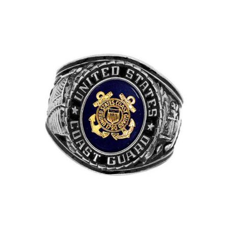 Rush Industries, Inc. Official US Coast Guard Deluxe Engrave Silvertone Sapphire Crystal Ring