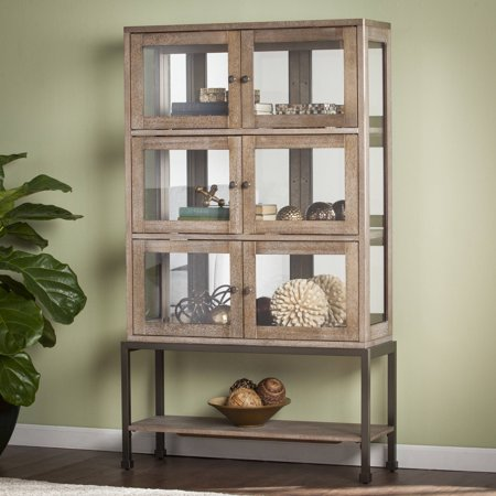 Southern Enterprises Braune Lighted Contemporary Curio, Burnt