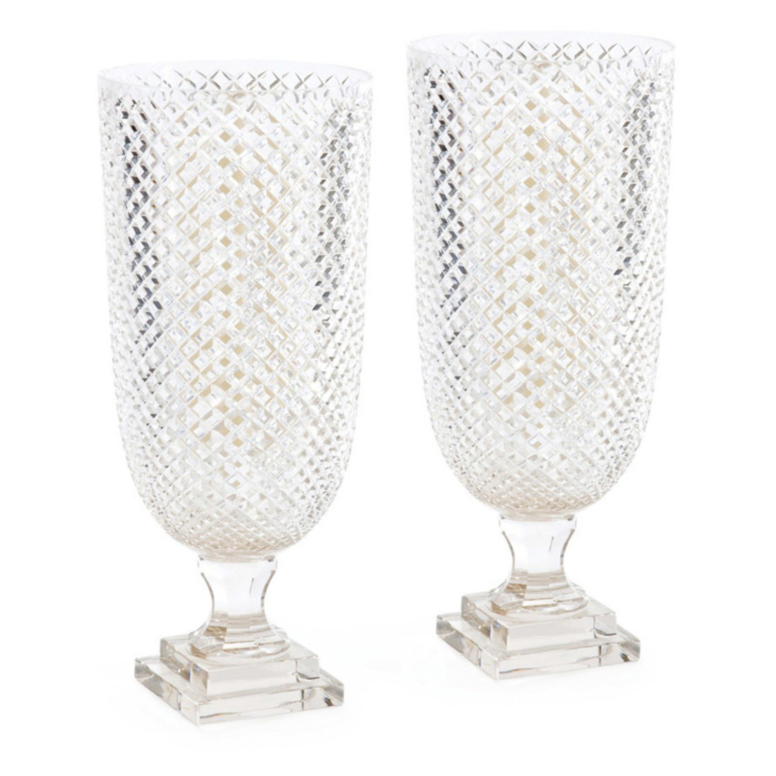 Hip Vintage Diamond Hurricane Candle Holder - Set of 2