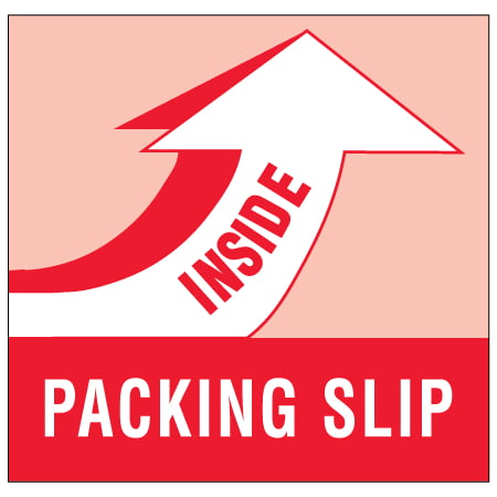 DL1180 Red / White 4 Inch x 4 Inch Packing Slip Inside Labels Made In USA ROLL OF 500