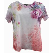 Women Short Sleeve Floral Laced Knit Blouse Tee T Shirt Top Plus Size Multi 1X (17027)