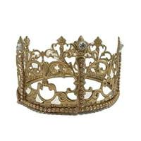 "Crown Princess Prince Gold Crown Cake Topper Rhinestones Decoration For Birthday Sweet 16 Weddings 2.25"" H x 4"" W"