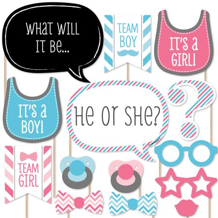 Chevron Baby Gender Reveal - Photo Booth Props Kit - 20 Count - Revealing Baby Gender